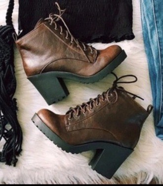 shoes boots booties brown brown leather boots leather high heels vintage