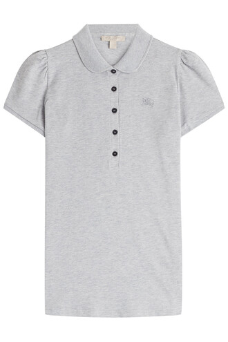shirt polo shirt cotton grey top