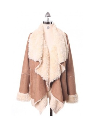 coat beige camel chicwish similar shearling jacket nastygal nastygal.com waterfall waterfall jacket waterfall coat