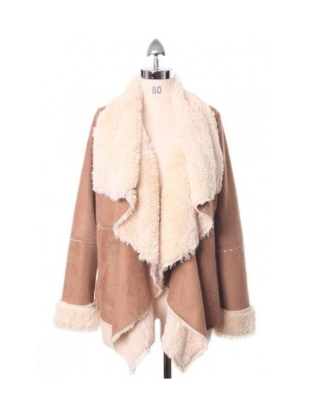 nastygal coat beige camel chicwish similar shearling shearling jacket shearling coat nastygal.com waterfall waterfall jacket waterfall coat