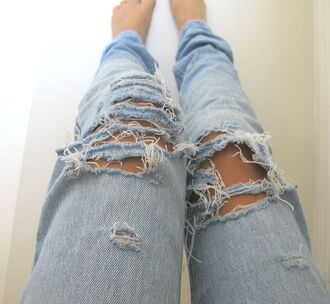 jeans denim pretty boyfriend jeans ripped jeans loose light blue