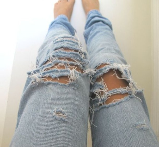 Jeans: denim pretty boyfriend jeans ripped jeans loose light