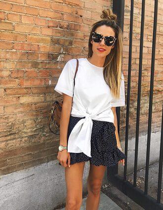 skirt mini skirt frill mini skirt tie-front top t-shirt blogger blogger style polka dots skirt