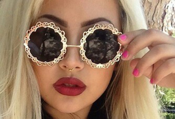 sunglasses retro floral gold pattern round sunglasses