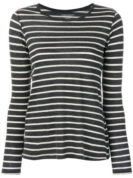 Majestic Filatures sweater striped sweater women cotton grey