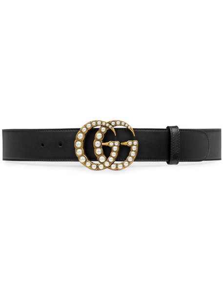 pearl belt leather black