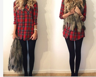 shirt leggings redshirt vest faux fur jacket