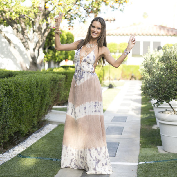 dress maxi dress coachella alessandra ambrosio boho dress
