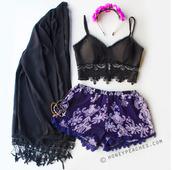 hem,fancy,pom pom,headband,floral head band,bustier,top,light purple,tassle,bralette,crochet,bustier crop top,cardigan