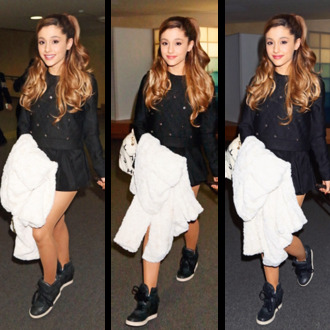 sweater cute celebrity ariana grande airport tumblr celebrity style shorts shoes bag