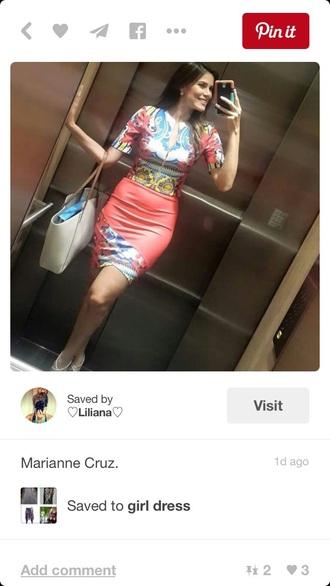 dress bodycon dress midi dress mini dress tight peach blue multicolor pattern patterned dress tribal pattern summer dress cute dress chic fashion style