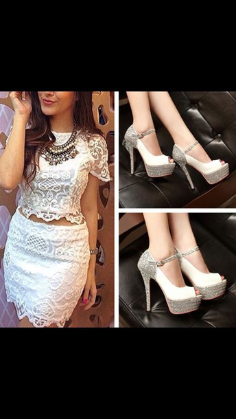 dress lace dress white dress ivory dress two-piece 2 piece skirt set