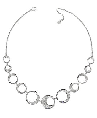 Plated pave crystal circle necklace