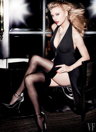 dress gown editorial black dress tights pumps plunge v neck taylor swift