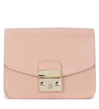 bag shoulder bag leather pink pink leather