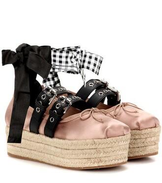 platform ballerinas leather satin pink shoes