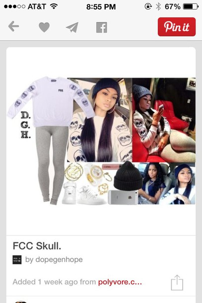shirt fcc bucket hat t-shirt white skull sweater long sleeves