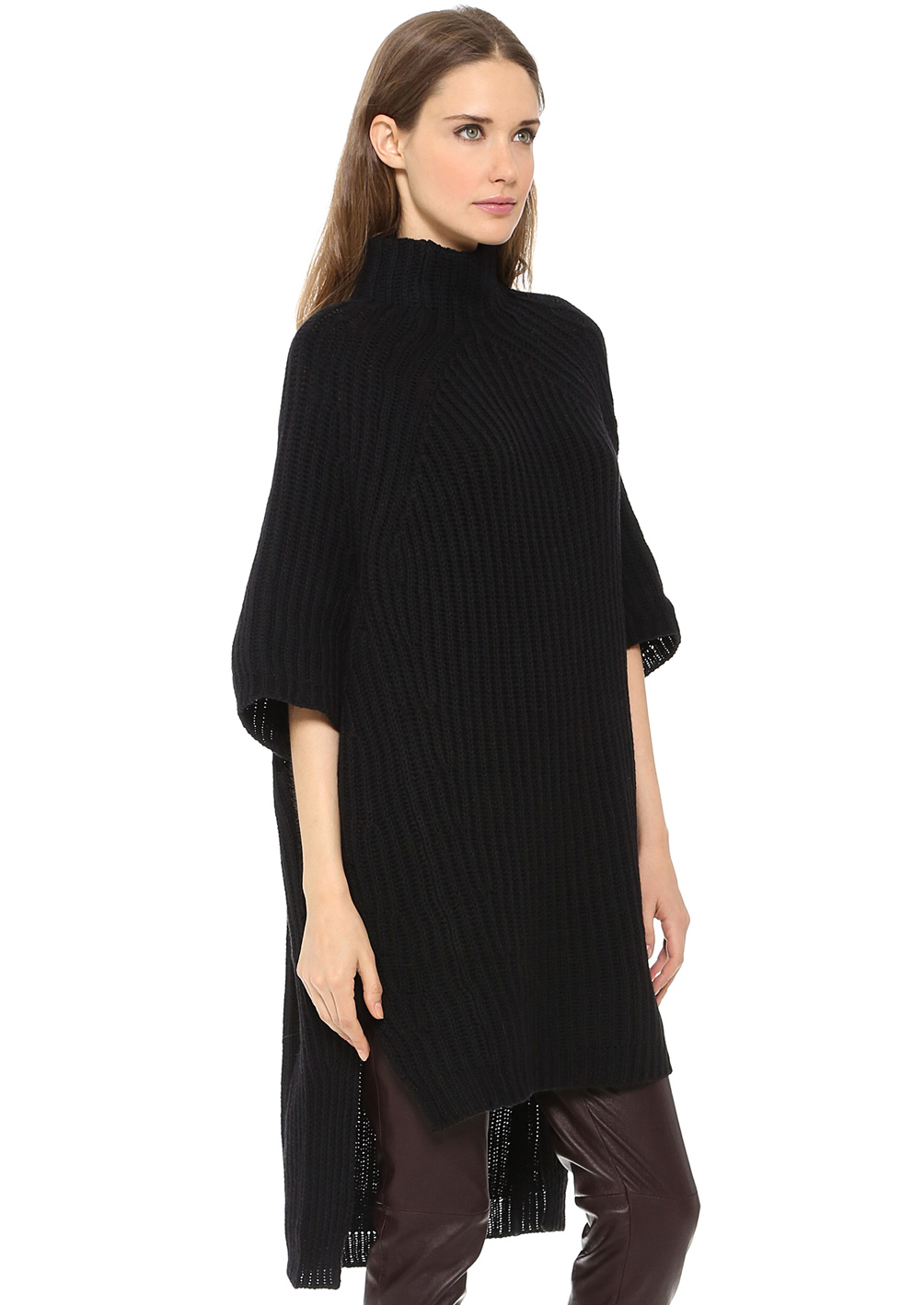 Black half sleeve oversized high low sweater