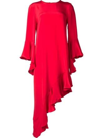 dress women silk red