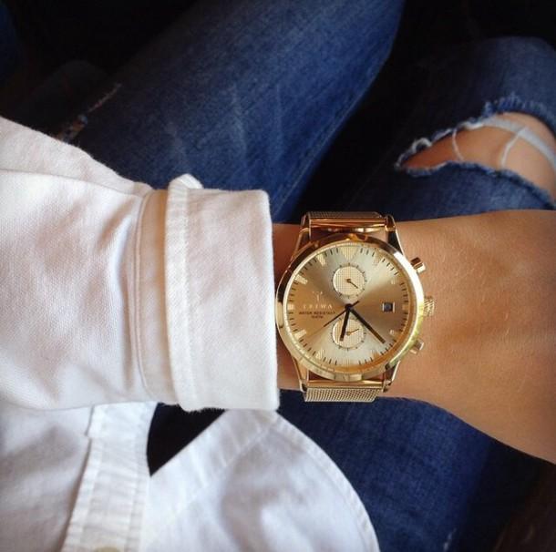 jewels gold watch fashion