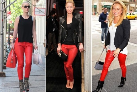 pants red pants leather pants nicky hilton hayden panettiere leather trending