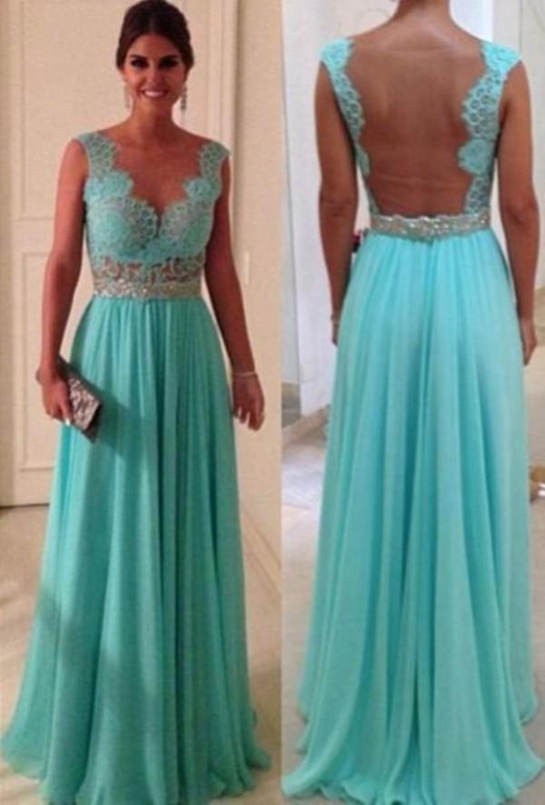 dress lindo vestido prom dress blue lace long chiffon dress lace prettydress