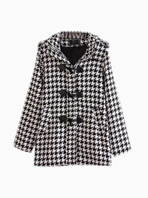 Vintage Houndstooth Duffle Coat   Choies