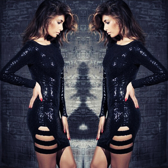 long sleeve dress bodycon dress cut-out dress cut out dress mini dress sequin dress black dress sequined dress