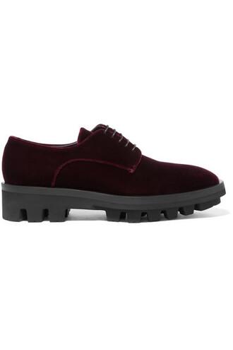 velvet burgundy shoes