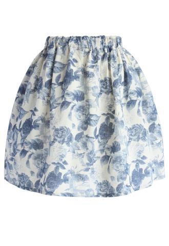 skirt chicwish blue skirt floral skirt blue skir mini skirt summer skirt printed skirt chicwish.com