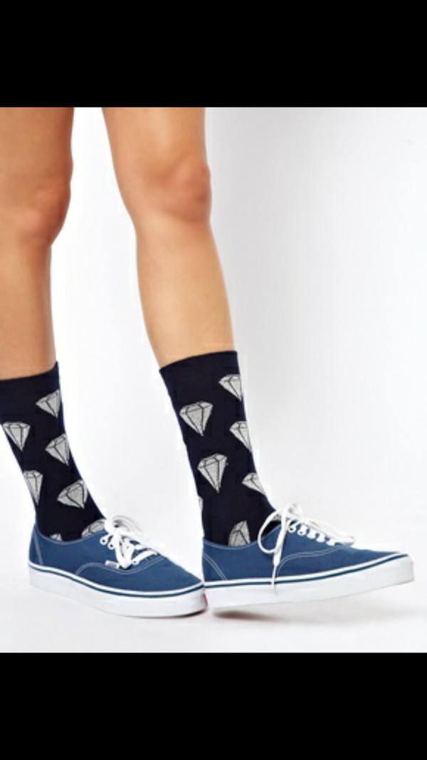 shoes socks diamonds black crew socks cute socks silly socks