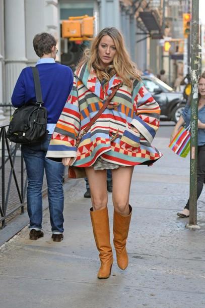 jacket colorful cape poncho blake lively