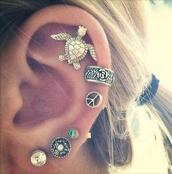 earrings,ear cuff,boho,boho chic,jewels,jewelry,tortoise,stud earrings,turtle,ocean,beach,swimming,ear piercings,cute,boho jewelry,piercing