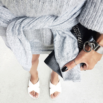 the haute pursuit blogger slit sweater sweater fuzzy sweater light grey all grey everything silver bracelet silver jewelry minimalist dark nail polish