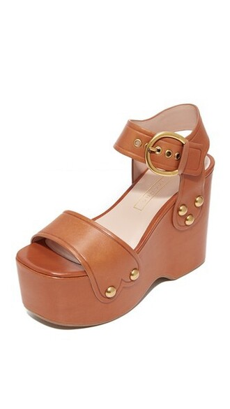 sandals wedge sandals brown shoes