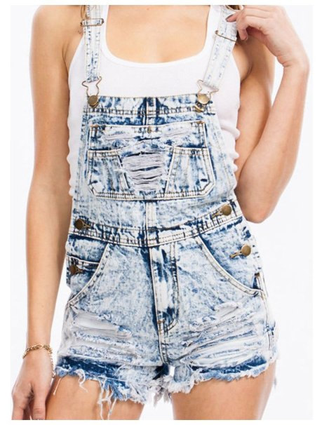 Acid wash distressed shorts overalls by vinmix on etsy