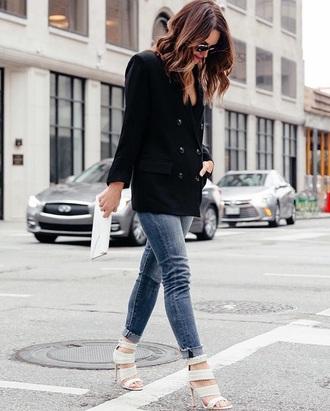 shoes white sandals black blazer blazer sandals sandal heels jeans denim blue jeans