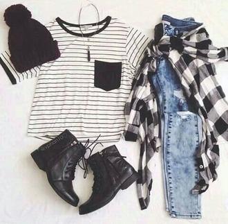 shirt jeans black white