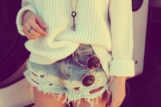 sunglasses round sunglasses rounded sunglasses shorts distressed denim shorts sweater oversized sweater india love vintage indie hippie hipster style