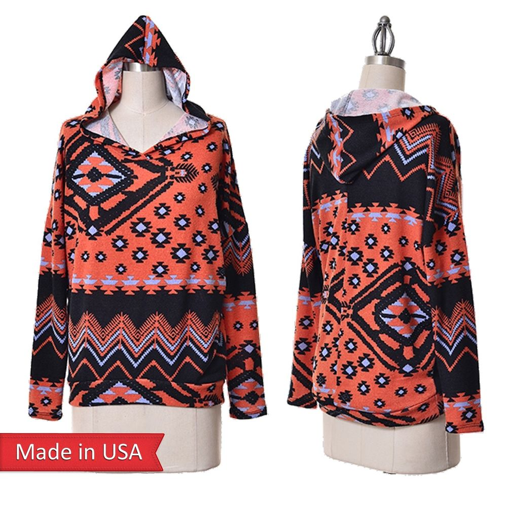 Women Aztec Tribal Print Hooded Hoodie Oversized Sweater Top Sweatshirt USA