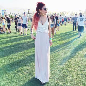 bralette knitwear le happy blogger coachella festival music festival maxi skirt crop tops