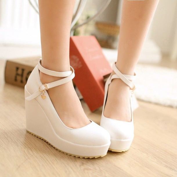 White Wedge Prom Shoes