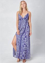 dress,lovestitch,sexy,effortless,floral,flowers,adjustable staps,navy,blue,light blue,maxi dress,gypsy,front slit,sleeveless,botanical,plunge dress,plunge v neck,straps,criss cross back