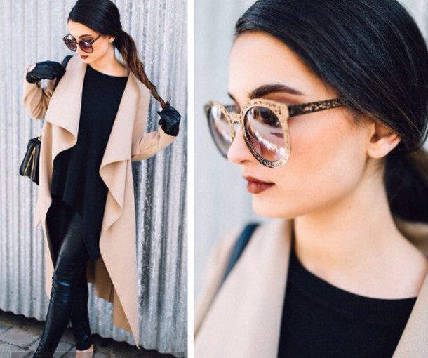 sunglasses brown coat