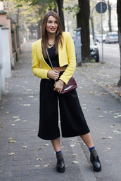 style and trouble,blogger,top,bag,jacket,socks,pants,loafers,cropped,crop tops,yellow,culottes
