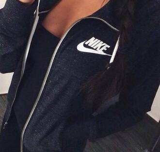 jacket nike black pretty white girl