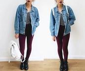 blouse,stripes,burgundy,denim jacket,backpack,bomb af lipstick,docs??,jacket,jewels,jeans,hat,gloves