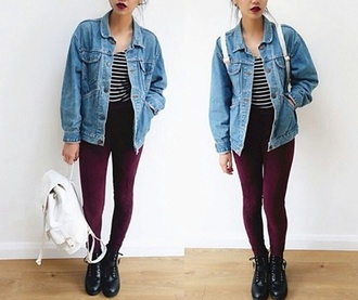 blouse stripes burgundy denim jacket backpack bomb af lipstick docs?? jacket jewels jeans hat gloves