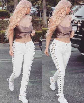 jeans kylie jenner white jeans lace pant lace up kardashians keeping up with the kardashians cute girly sexy sexy outfit party outfits clubwear
