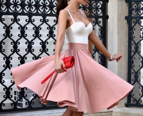 skirt rose cute pink white dress classy midi skirt pink skirt flare skirt ariana grande girly bralette spaghetti strap white top circle skirt shirt top this combination